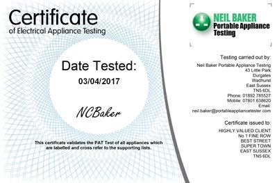 Portable Appliance Testing Certificate Template by Portable Appliance Testing Service Pat Testing