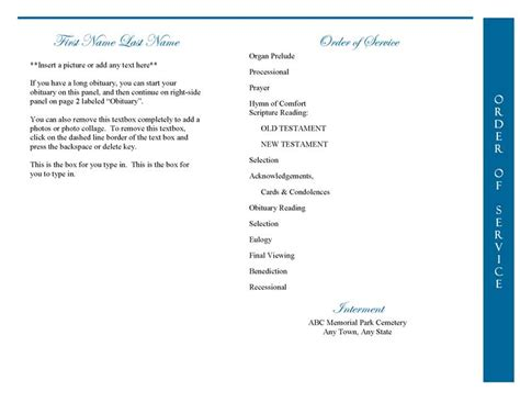 funeral program template 4 page graduated celestial dove