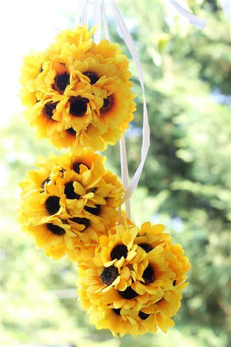 sunflower kissing balls easy diy fall home decor