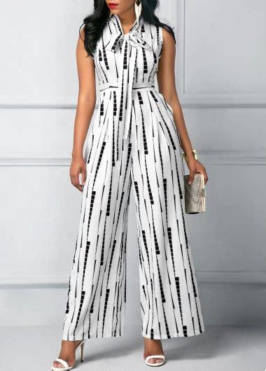 High Waist Jumpsuit sleeveless high waist printed white jumpsuit rosewe