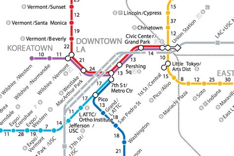 los angeles subway map if la s trains disappeared a walking map of metro curbed la