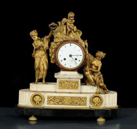 orologi da tavolo francesi orologio da tavolo in marmo bianco e bronzo dorato dreyfs
