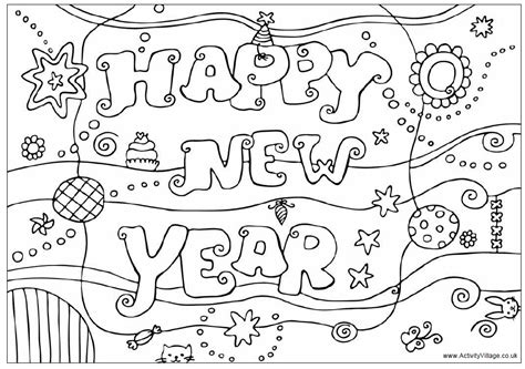 happy new year colouring design colouring pages for kids