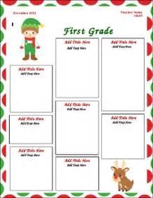 december classroom newsletter template theme