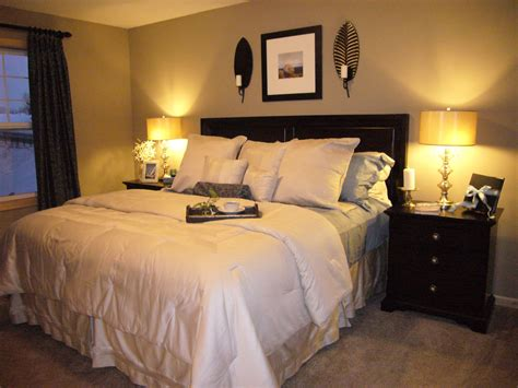 beige bedroom color finishing for neutral nuance combined with black stained wooden bed side
