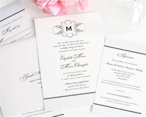 baby blue wedding invitations elegance monogram vintage wedding invitation baby blue