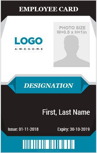 10 Amazing Employee Vertical Size Id Cards For Free Microsoft Word Id Card Templates Vertical Badge Template