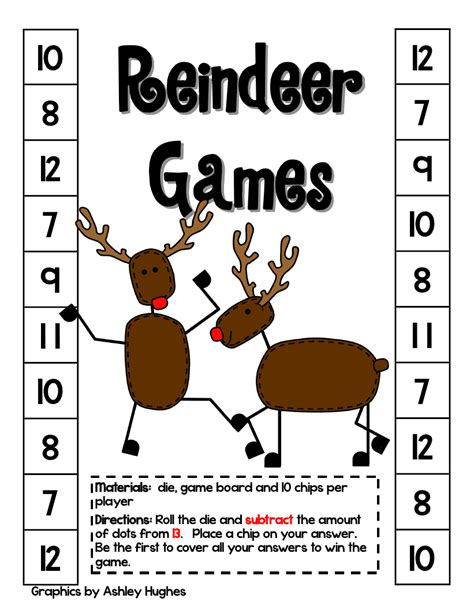 printable reindeer math games day 1 of the 12 days of christmas fast math games