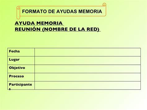 formato de ayuda memoria para reuniones esscribdcom redes 2010 perfil plan de trabajo