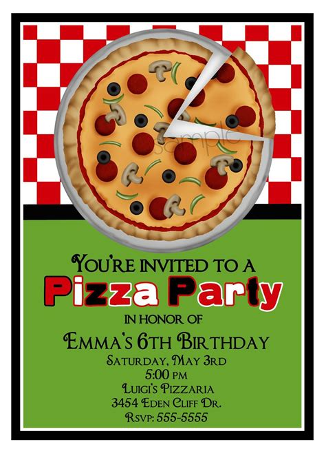 Pizza Party Invitations Party Invitations Templates Pizza Invitation Template