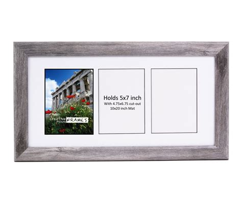10 X 20 Fram With 2 Mat by Creativepf 3 Opening Multi 5x7 Driftwood Picture Frame