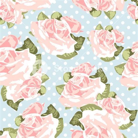 pattern vintage rose beautiful seamless rose pattern with blue polka dot