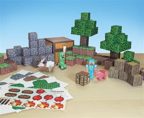 Minecraft Papercraft Overworld Deluxe Set - jazwares shows range of minecraft papercraft