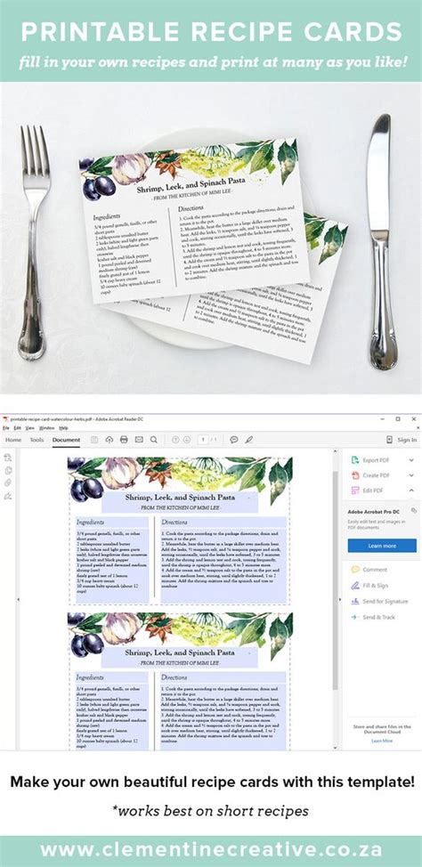 professional recipe template printable recipe card watercolour herbs shops