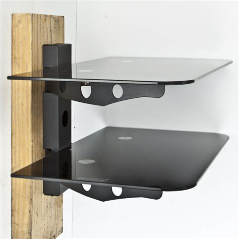 shelves wall mount new component shelf 2 tier wall mount dvd cable box console tv stereo rack ebay