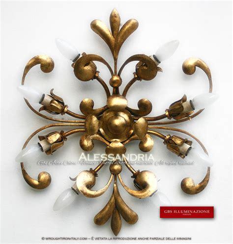 illuminazione ferro battuto plafoniera in ferro battuto oro gbs illuminazione ferro