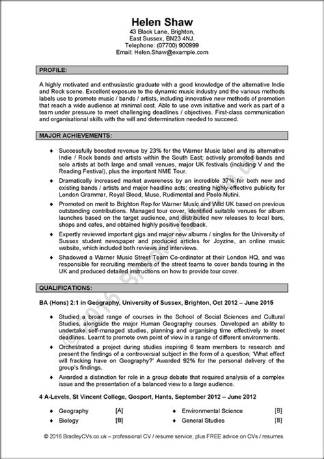 excellent cv example excellent example cv uk and international produced by
