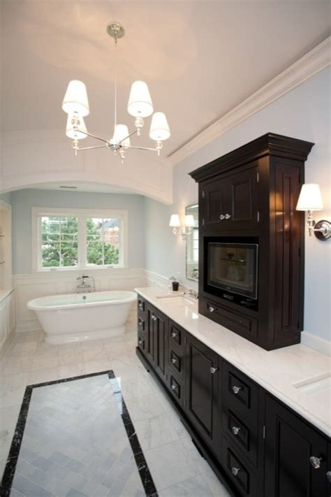 bathroom paint colors with dark cabinets tv in center tower transitional bathroom oakley home