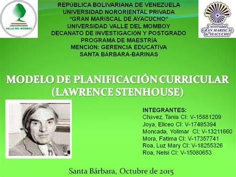 Modelo Curricular Stenhouse planificaci 211 n curricular 2015
