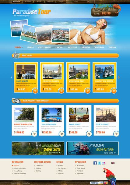 travel agency opencart template html5 web templates