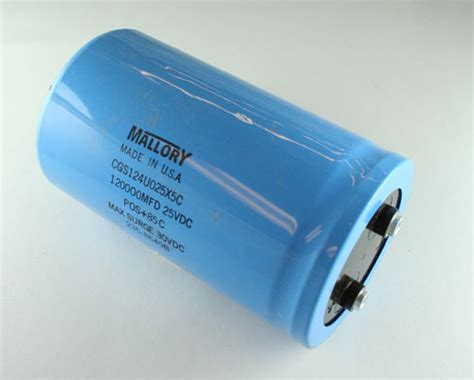 capacitor in computer cgs124u025x5c mallory capacitor 120 000uf 25v aluminum electrolytic large can computer grade