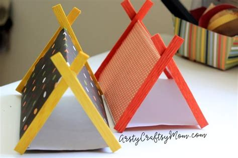 paper stick diy mini cing set craft with sticks and paper