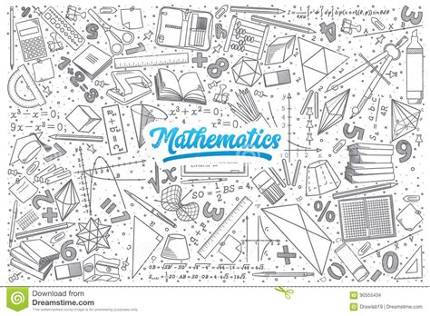 how to doodle in math mathematics doodle set with lettering stock