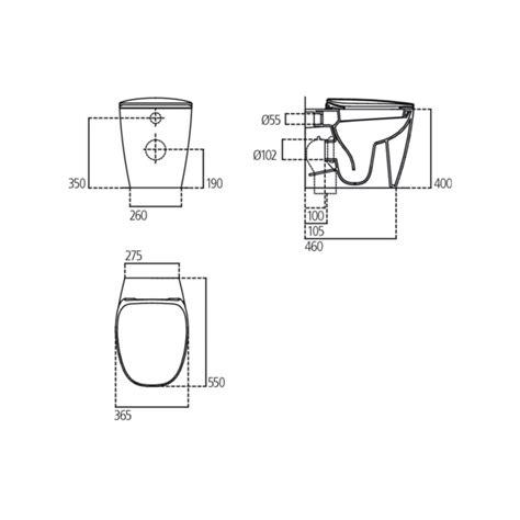 vaso wc ideal standard dea wc scarico parete filo parete con sedile a chiusura
