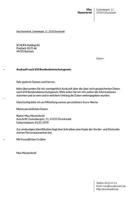 Musterbrief Fristsetzung Drucke Selbst Musterbrief F 252 R Eine Kostenlose Schufa Auskunft