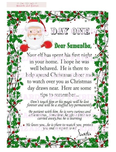 printable personalized elf on the shelf letter elf on the shelf letter from santa includes tips