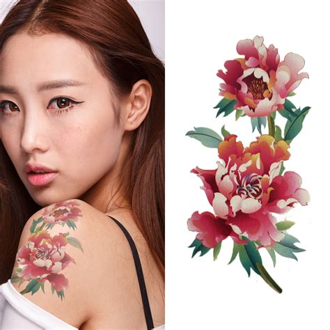chinese flower tattoo designs fake peony flower temporary