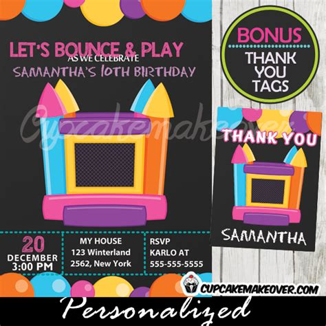 bouncing houses for birthday parties bounce house birthday party invitation personalized d5 cupcakemakeover