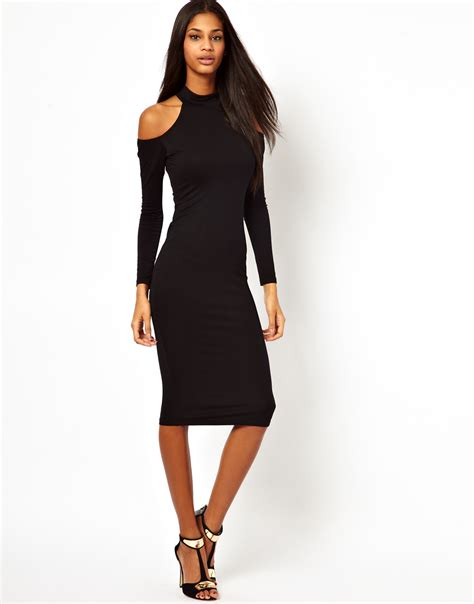 Black Shoulder Dress asos bodycon polo cold shoulder dress in black lyst