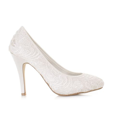 White Satin Bridal Shoes by Womens Lace Overlay Satin White Pale Wedding