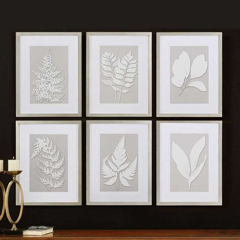 home interior wall art moonlight ferns silver framed wall collage uttermost 41394