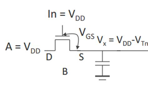 why capacitor is not connected in series transistors why doesn t a capacitor connected to a mosfet charge to vdd electrical