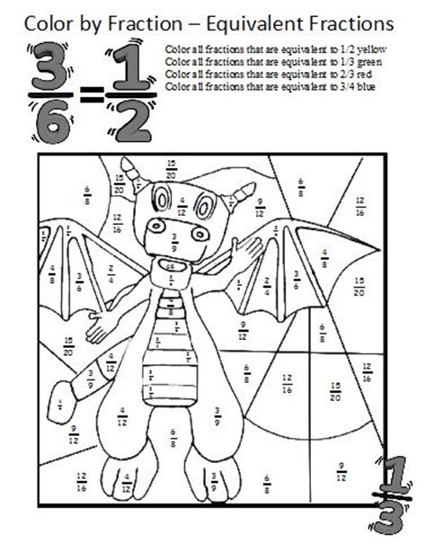 fraction coloring sheets color by fractions equivalent fraction 3 s