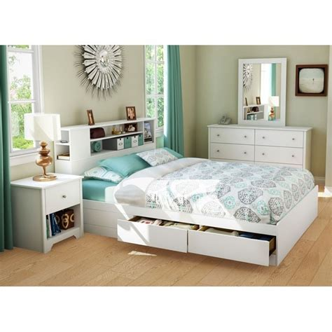 Vito Queen White Bedroom Set With Bookcase Bed Dcg Stores White Bookcase Bed