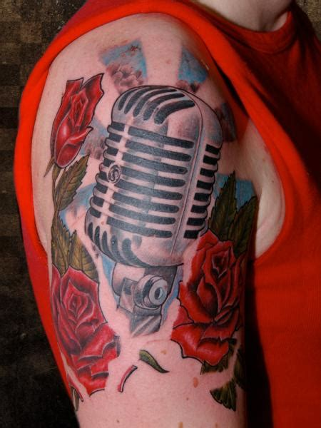 microphone realistic tattoo shoulder realistic microphone tattoo by andys body electric