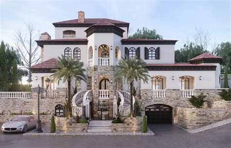 luxury mediterranean house exterior and landscape design