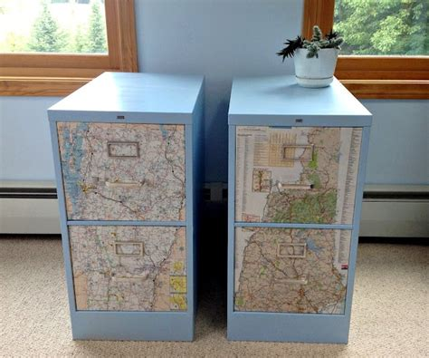 decoupage maps on metal filing cabinet makeover