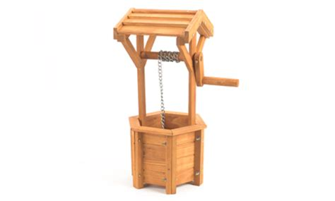 Small Wooden Wishing Well Planter by Small Wood Wishing Well Planter 45cm