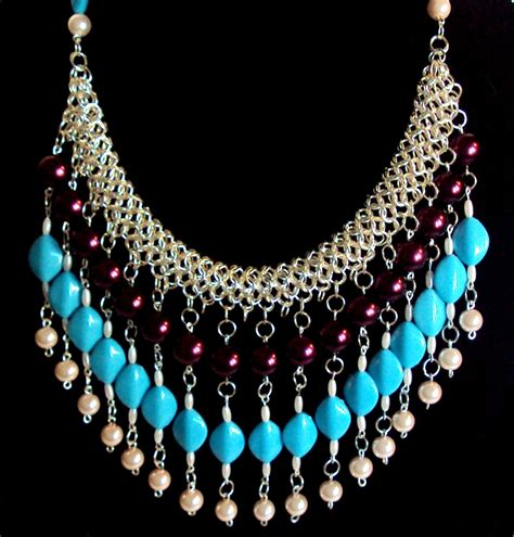 turquoise beaded necklace chainmaille with necklace inspired by