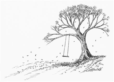 tree with swing drawing fall swing pen ink drawing by alyce wolfe 11 quot x 14