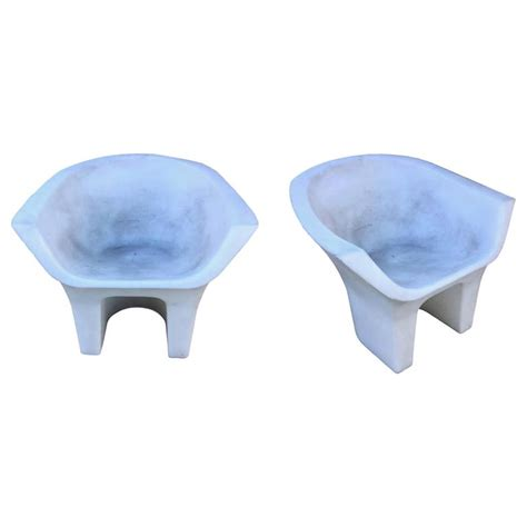 Molded Plastic Outdoor Chairs by Pair Of Sculptural Molded Plastic Outdoor Chairs For Sale At 1stdibs
