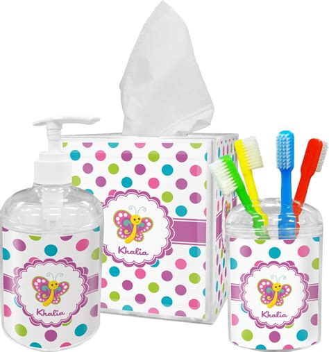 Polka Dot Bathroom Accessories Polka Dot Butterfly Bathroom Accessories Set Personalized Potty Concepts