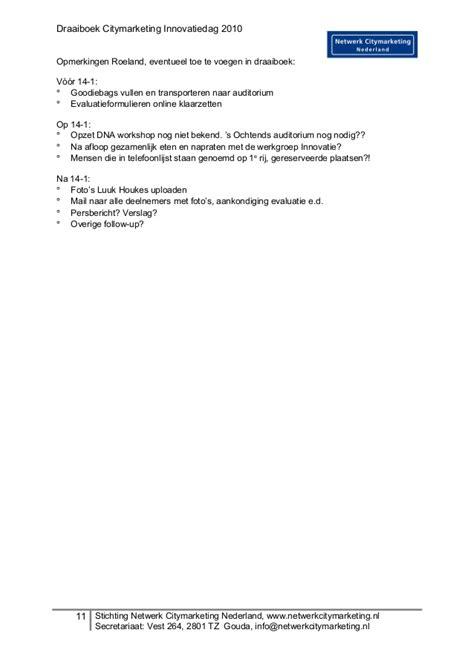 Draaiboek Citymarketing Innovatiedag Versie 2 draaiboek citymarketing innovatiedag versie 2