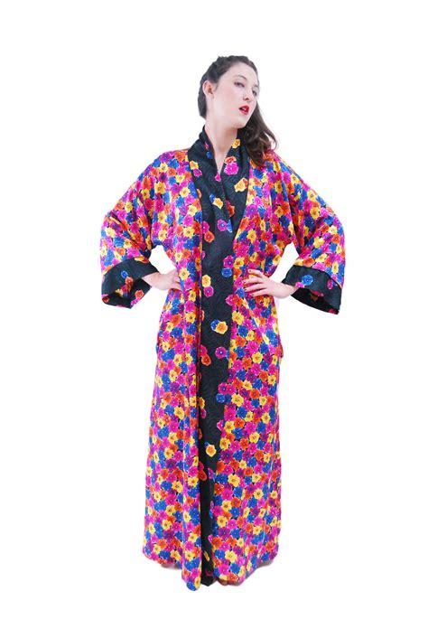 mix color flower print vintage robe for 1980s