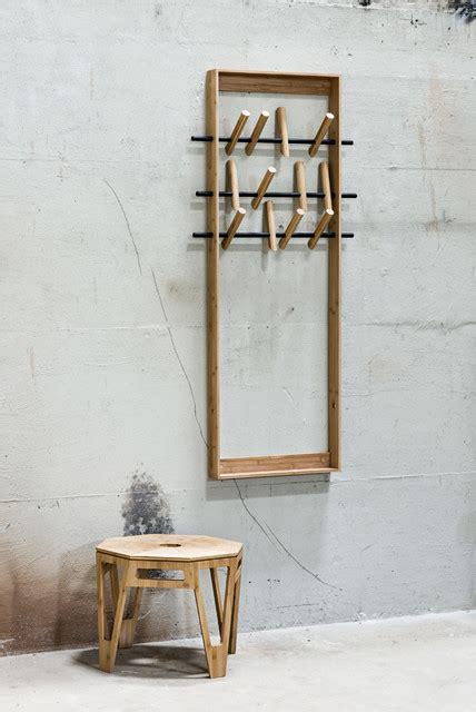 garderobe skandinavisch puristische wandgarderobe aus bambus skandinavisch