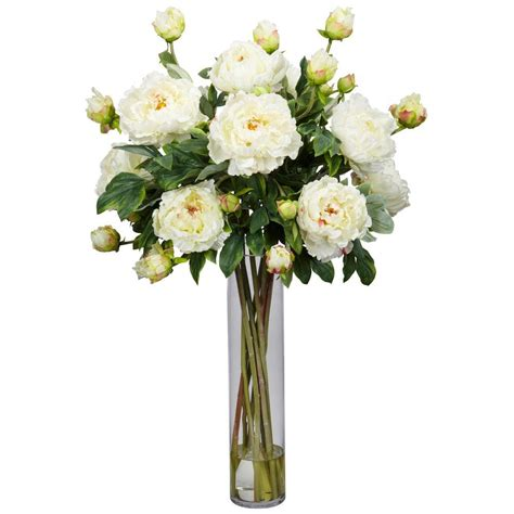 Silk Flower Arrangements by 32 In H White Peony With Cylinder Silk Flower Arrangement